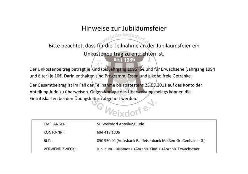 25 jahre judo in weixdorf – aktuelle informationen | judo weixdorf, Einladungen